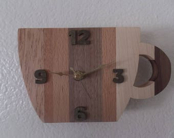 Coffee Cup clock, HANDMADE, wooden body