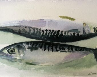 Pair of mackerel, watercolor 20 x 38 cm
