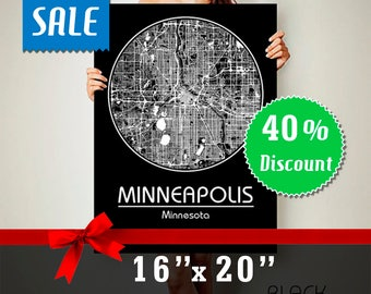 "40% off Minneapolis Minnesota CANVAS Map 16""x20"" Sale Minneapolis MN Poster City Map Art Print Map of Minneapolis Minnesota  Sale 16x20"