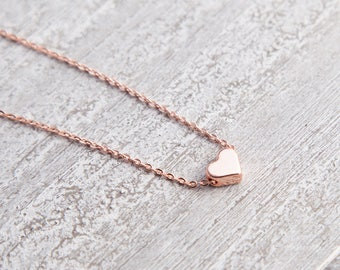 Tiny Rose Gold Heart Necklace, Tiny Heart Necklace, Rose Gold Heart Necklace, Collier coeur, Bijoux Minimaliste, Minimalistische Halskette