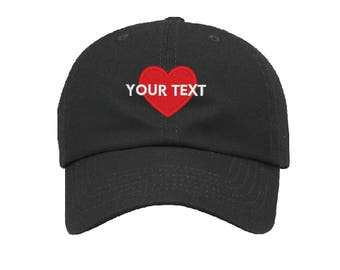 Custom Embroidered Heart Love Baseball Cap Dad Hats Dad Hat 601-C04