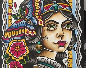 Lady Head Folk Art