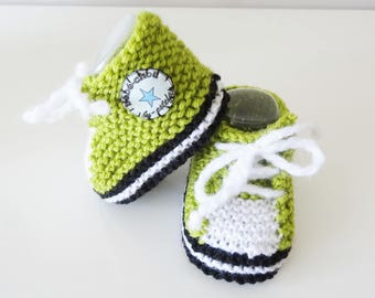 Basketball lime green yarn for baby from 1 to 6 months