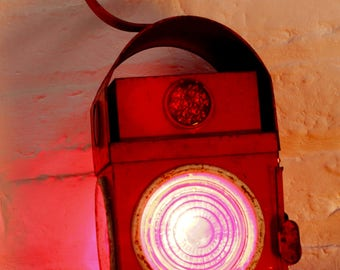 Scarlett Red Vintage Urban Up-cycled Industrial Road Workers / Railway Signalling Lantern with Edison Bulb Lamp and Twisted Flex