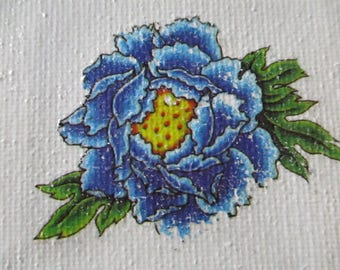 Blue Flower Transfer on Canvas