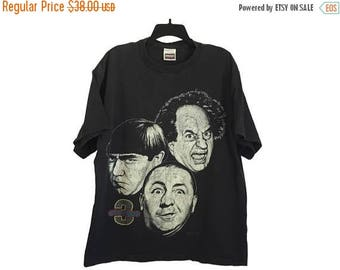 SALE Vintage 1994 Distressed/Worn 3 Stooges Larry, Moe, and Curly T-Shirt Black Large/X-Large Free Shipping!
