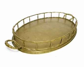 """large 18"""" vintage brass faux bamboo tray Hollywood Regency home decor"""