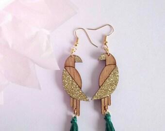Boucles d'oreilles en bois perroquets