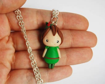 OUTLET! Sale! Peter Pan necklace in fimo