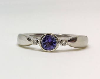 10k White Gold Natural Tanzanite (0.30 ct) Ring, Appraised 988 USD