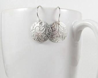 Sterling Silver Earrings, Paisley Earrings, Small Silver Floral Earrings, Patterned Embossed Earrings