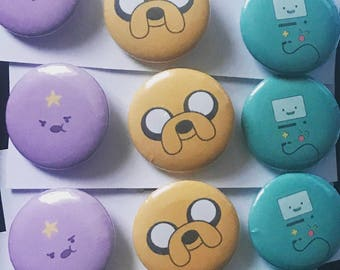 Adventure Time Set of 3 Pin Button Badges, LSP, Jake The Dog, BMO