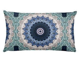 Boho Pillow, Ocean Blue Decor, Rectangle Pillow, Bohemian Home Decor