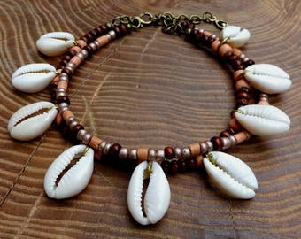 SALE! cowrie anklet, double anklet, pink anklet, beaded anklet, bead and shell anklet