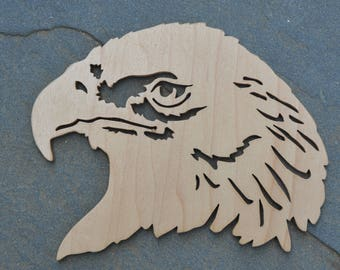 Handmade bald eagle silhouette - scroll saw plwood cutout - wooden wall hanging - gift for him - rustic animal decor - patriotic art