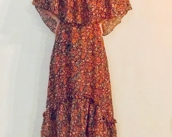 P.R. FOSTER VINTAGE semi sheer maxi dress