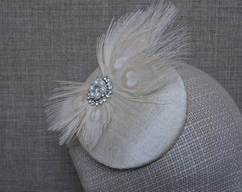 Bridal hat, wedding fascinator, alabaster dupion silk hat, cream peacock feathers, bridal headwear, 50s 60s vintage inspired headpiece -BH08