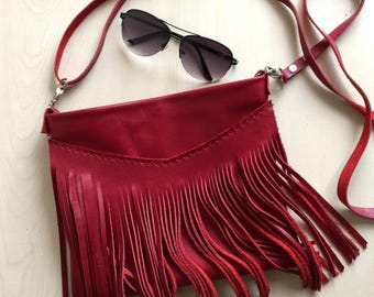 Red Leather Crossbody Bag,Red Fringe Leather Bag,Fringe Leather Purse,Boho Fringe Messenger Bag,Red leather Bag,Boho Leather Bag