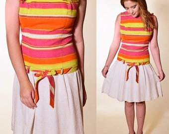 Vintage 1960's summer mod colorful drop waist belter sleeveless mini dress women's size small