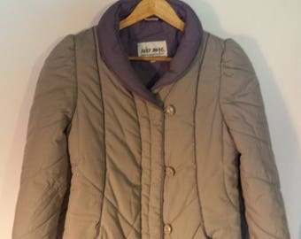 80s puffer coat// Hipster retro mid length warm gray// Vintage Andy Johns// Womens size S small 4-6