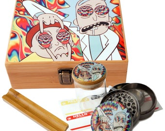 """Large Size Geometry Stash Box, 2.5"""" Zinc Alloy Grinder,  Stash Jar, 6"""" Rolling Tray - ALL IN ONE Box Package - Rick & Morty # LBCS020818-5"""