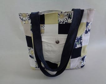Upcycled Denim Bag,  Blue, Yellow, White Floral Checked Bag, Gift for her, One of a kind gift, Summer bag,Yellow bag, Blue Bag, Denim Bag