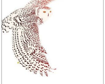 Magnetic or non-magnetic note-pad; post-it (set of 2); snowy owl in flight, white owl, snow owl