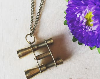 funky antique brass binocular necklace, gift for your adventuring friend