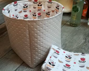 "12 pretty wipes/cotton washable and their basket ""boudoir and spice"""