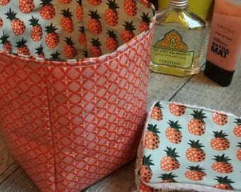 "12 pretty wipes/cotton washable and their basket ""vitamins and pineapple"""
