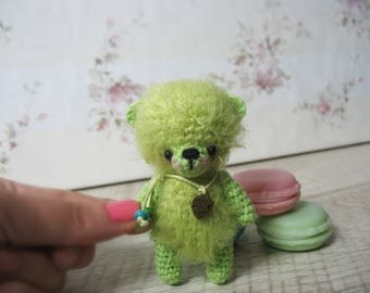Crocheted mini bear cub, from the collection of colorful cubs bear