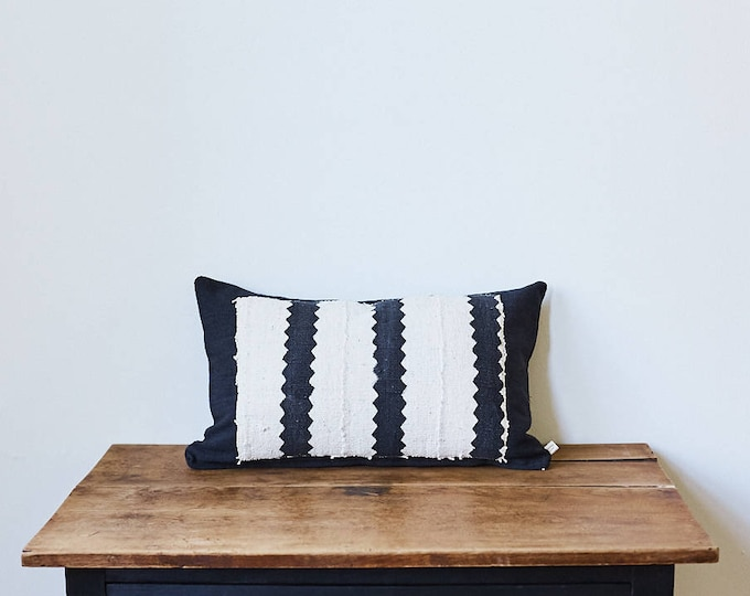 "African Mud Cloth lumbar pillow 12"" x 20"""
