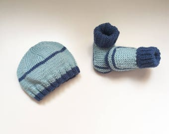Hand knitted baby booties and hat set