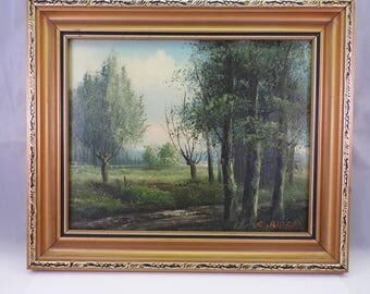 original oil painting on canvas 'Walking home',signed C.Ribera,framed miniature