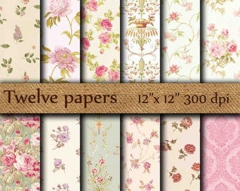 """Floral Digital Papers: """"FLORAL ROSES PAPER"""" pink roses , red roses , shabby chic floral , decoupage papers , vintage papers"""