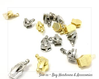 YKK zipper slider - No.5 Nylon Coil Zipper Slider - yellow Gold or Nickel (5 PIECES) - Slider Only - Sew cc Bag Hardware
