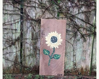 SALE Small SUNFLOWER Pretty Sun Flower Art Painted Reclaimed Barn Wood Plank Painting Scott D Van Osdol Garden Porch Home Wall Decor 3-7/8x8