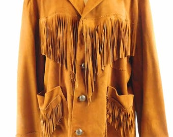 Vintage 70s Ladies Medium Brown Suede Leather Jacket Fringe Boho Hippie Hipster Cowgirl Riding Competitions Lined Western