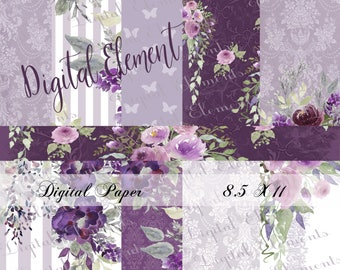 Lavender Digital Paper, Lilac Wedding Paper, Floral Wallpaper, Background Florals, No. P210