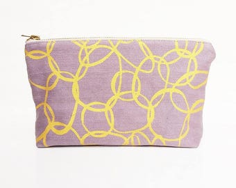 Cosmetics bag hand printed organic cotton purple and gold denim
