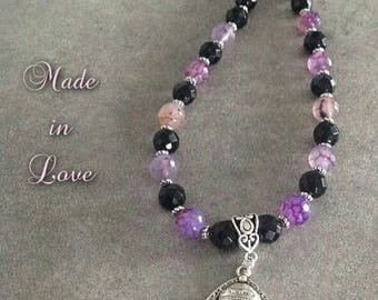 Beautiful energized necklace well be Onyx and faceted purple Agate and silver Buddha zen pendant