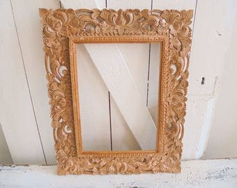 Vintage picture frame mirror wood carving carving picture frame