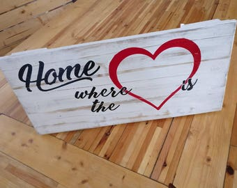 """Rustic decor sign art - """"Home is Where the Heart Is"""""""
