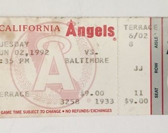 California Angels vs Baltimore Full Season Baseball Ticket June 2, 1992 Orioles