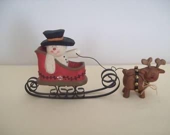 Crazy Mountain Snowman Riding Reindeer Sleigh Resin Figurine 1998