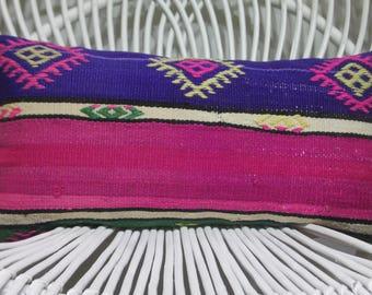 vintage stripe pillow cushion cover turkish home decor 10x20 kilim pillow pillowcase throw pillow blue and pink kilim pillow 10x20  179