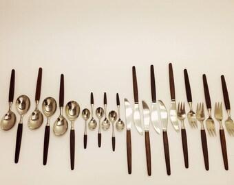 For LUNDTOFTE TIAs Eckhoff / 24 rosewood flatware set / original made in Denmark / danish modern design