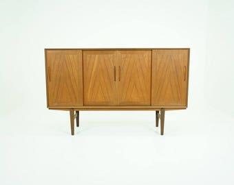 309-140 Danish Mid-Century Modern Teak Sideboard Tall High Buffet Credenza