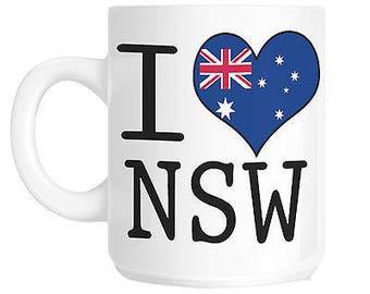 I love heart nsw australia flag gift mug