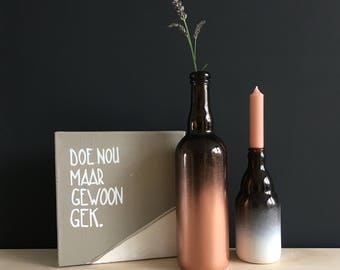 Brown glass vase or candle holder with dip dye effect. Recycelde bottles.
